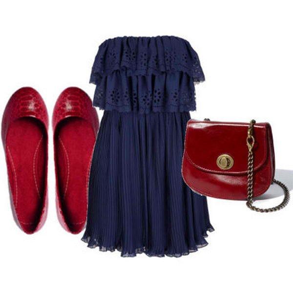 Красные балетки и темно-синее платье с юбкой годе создают неповторимо романтичный молодежный образ