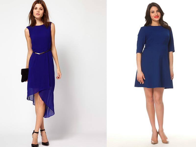 Деловой образ, в котором строгость и уверенность подчеркивают в ансамбле с синим платьем и черными туфлями такие же по цвету ремешок и клатч