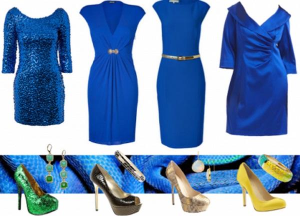 Неограниченная изобретательность модных кутюрье позволяет формировать модные луки с синим платьем и туфлями в классическом и ультрамодном вариантах