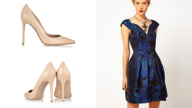 Классика «жанра» - синее платье и лодочки на высокой шпильке светло-бежевого цвета