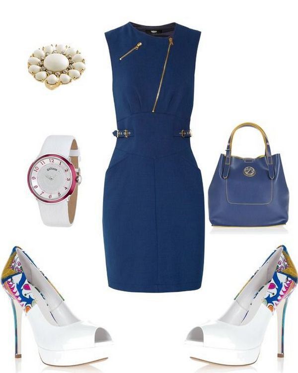 Беспроигрышный классический вариант – ансамбль темно-синего платья и кипенно-белых туфель с принтом в аналогичной цветовой палитре