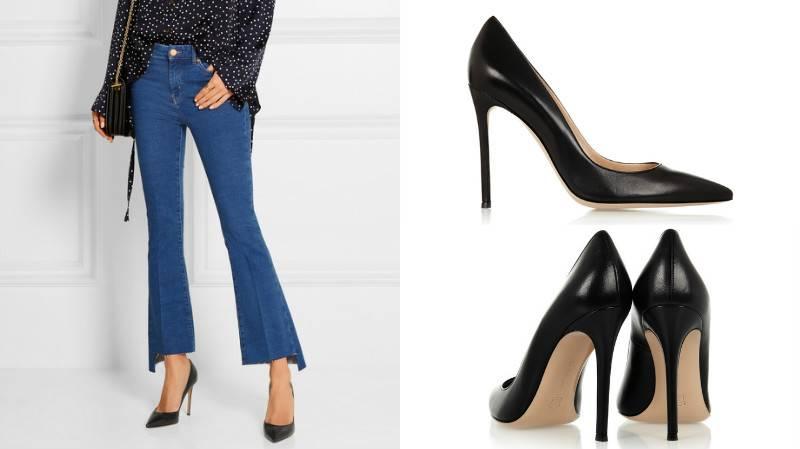 Черные кожаные шпильки – органичная часть лука с укороченными джинсами и просторной блузой
