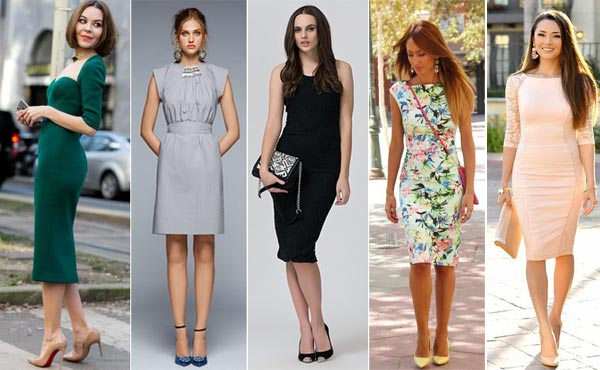 Туфли на шпильке органично смотрятся с платьями различных расцветок и фасонов