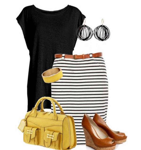 Трикотажная прямая юбка с коричневым кожаным поясом и туфли такого же цвета на контрастной танкетке – запоминающийся образ на каждый день.