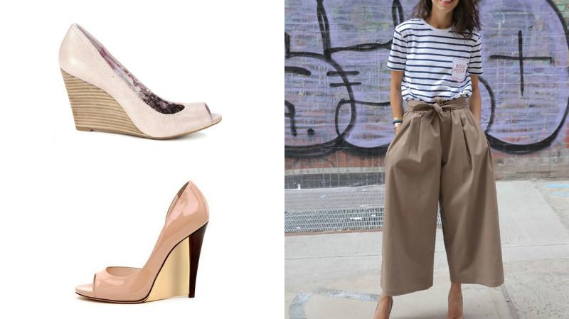 Широкие брюки из мягкой ткани – лучший выбор к светлым туфлям на танкетке в оригинальном исполнении