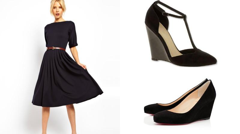 Черное платье до колен с контрастным ремешком и открытые замшевые туфли с танкеткой черного цвета – идеальное сочетание элементов делового стиля