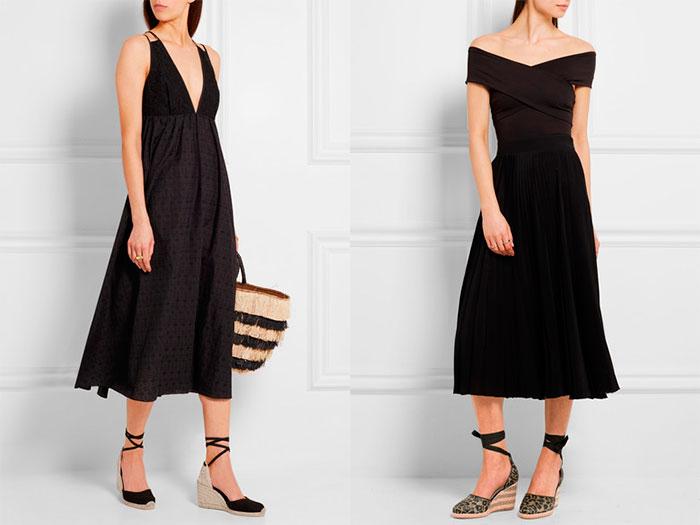 Черные классические платья – отличный выбор для микса с туфлями на танкетке для похода на торжественное мероприятие