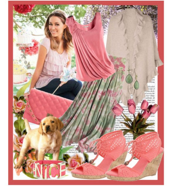 Плиссированная юбка из легкого шелка и футболка в пастельных оттенках создают гармоничный тандем с эспадрильями в той же цветовой гамме