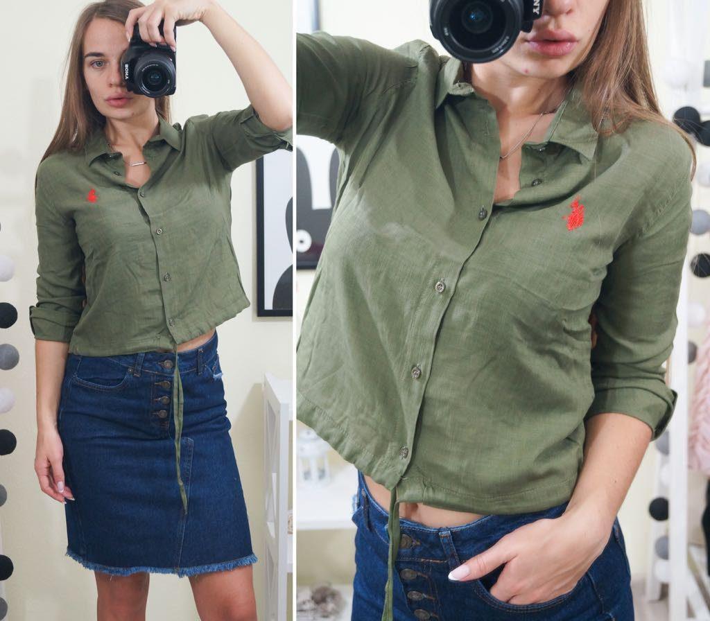Рубашка цвета хаки и джинсовая укороченная юбка – притягательный повседневный образ