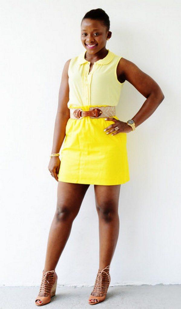Светло-желтая рубашка без рукавов и насыщенно желтая юбка – солнечный ансамбль для летнего времяпрепровождения