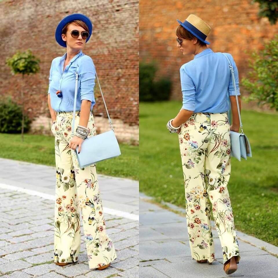 Цветастые брюки, яркая голубая рубашка и шляпка из соломки – эффектная капсула для романтического ужина