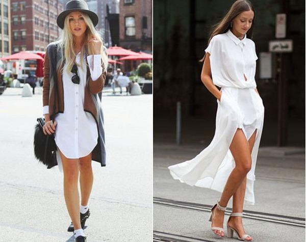 Модели рубашек-платьев в пол и до колена – завершить образ позволяет соответствующая обувь и аксессуары