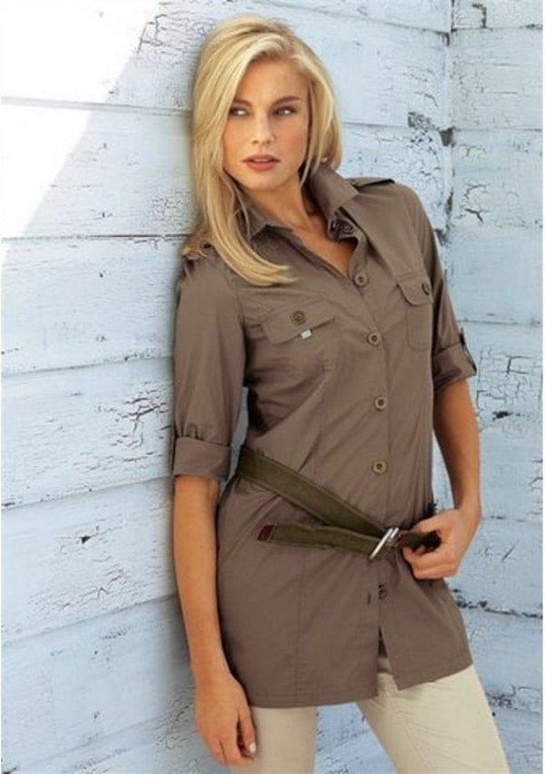 Оригинальная версия рубашки с поясом – аксессуар расположен ниже линии талии