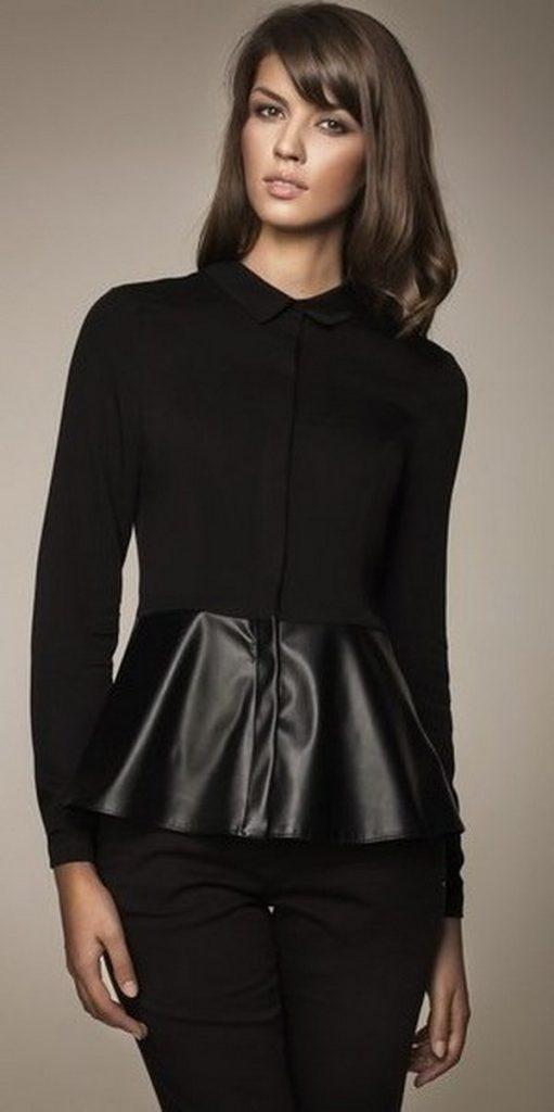 Черные брюки и рубашка с кожаной баской – тотал лук в классическом стиле