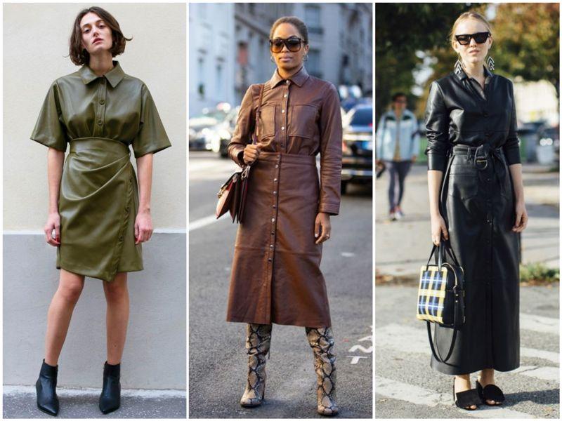 Рубашки из кожи отлично сочетаются с юбками из идентичного материала