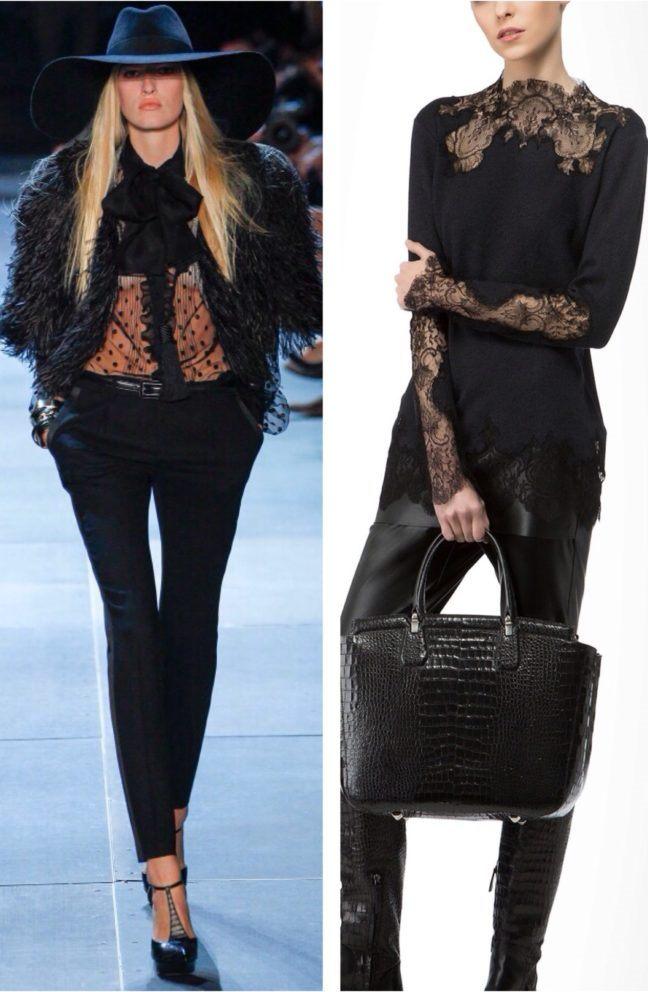 Рубашки из гипюра, черные брюки и стильные аксессуары – вариант ансамбля для вечернего выхода