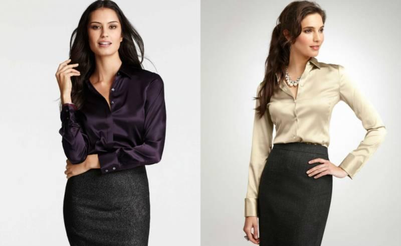Шелковые рубашки – отличный выбор для луков в деловом стиле в паре с юбкой карандаш