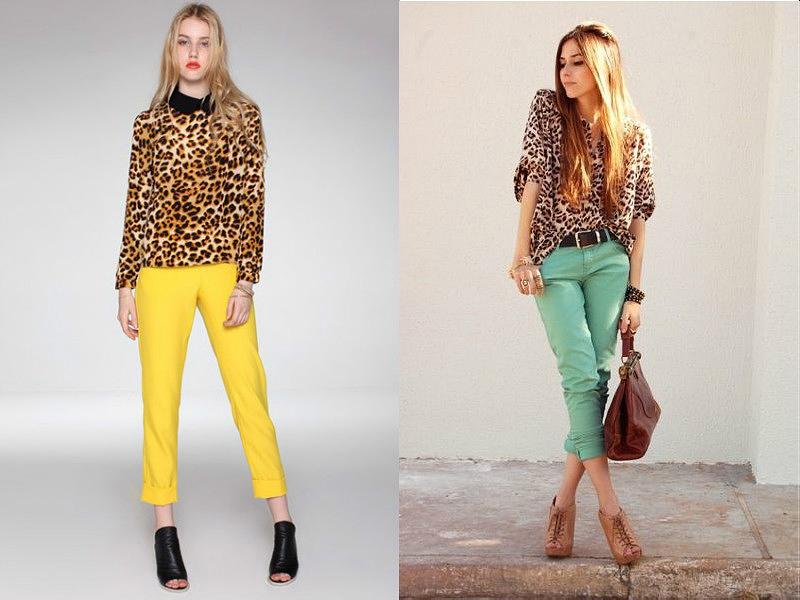 Рубашки с леопардовым рисунком хорошо выглядят в дуэте с однотонными брюками