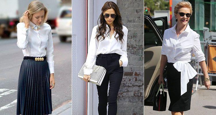 Классика жанра – белая рубашка в сочетании с черными брюками и юбкой
