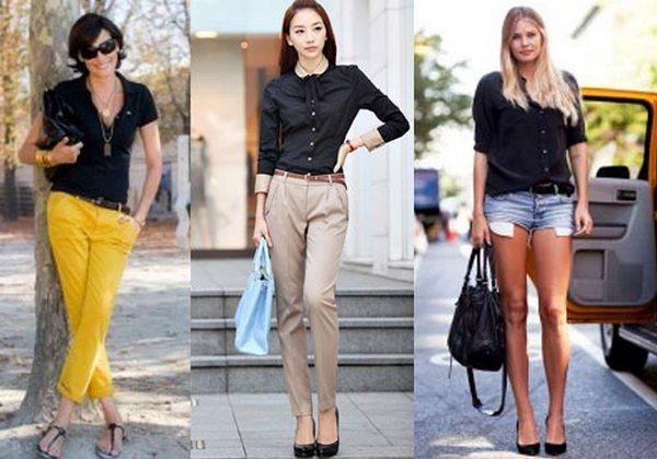 Черная рубашка – стильная деталь деловых и неформальных сетов