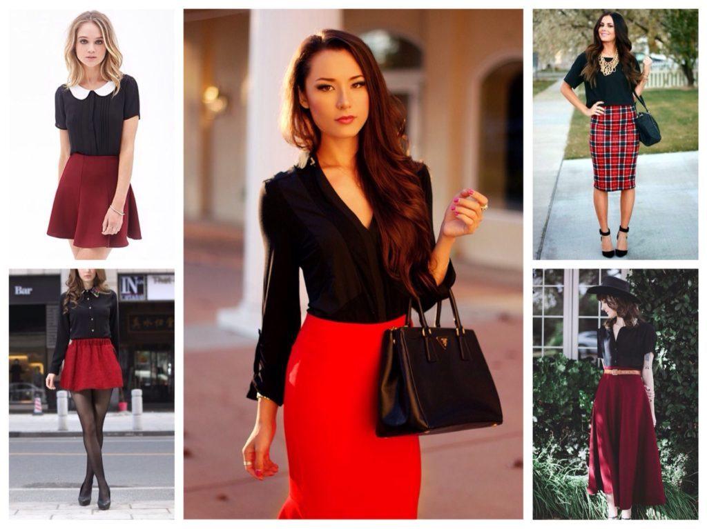 Черная рубашка с красной юбкой – эффектный вариант ансамбля для вечернего выхода