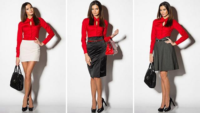 Красная рубашка органично вписывается в комплекты с юбками разных цветов