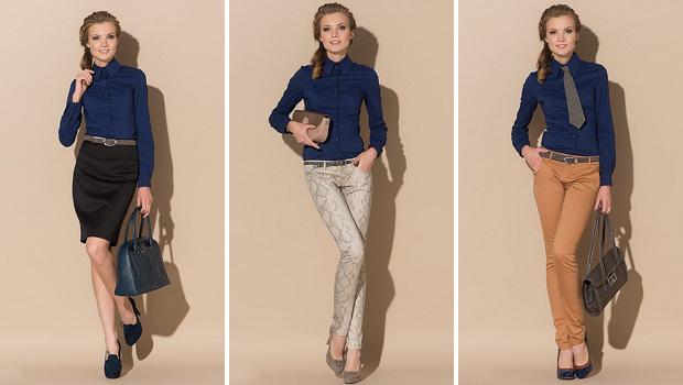 Синяя рубашка способна добавить изысканности сету с юбками и брюками серого, черного и бежевого цветов
