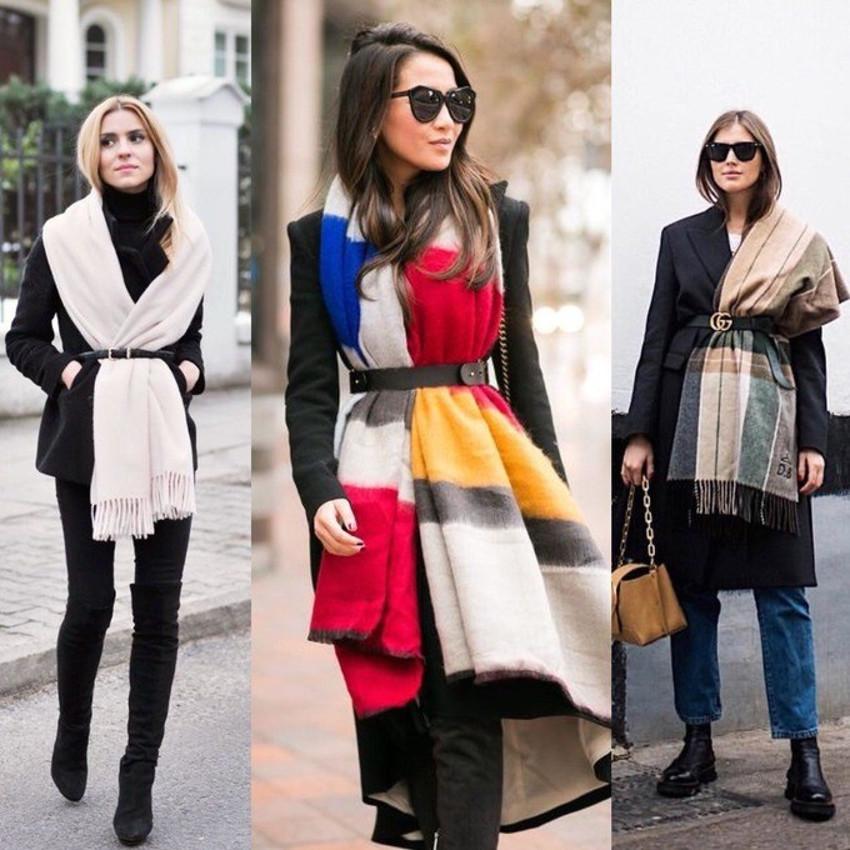 Тенденция завязывать шарф поясом не сбавляет обороты.