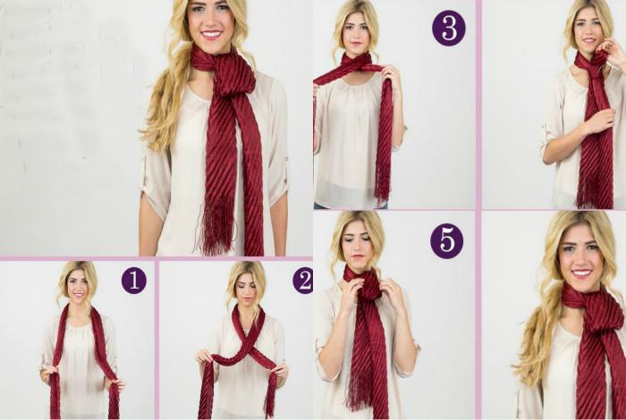 Длинный шарф, завязанный в форме петли, — просто и креативно.