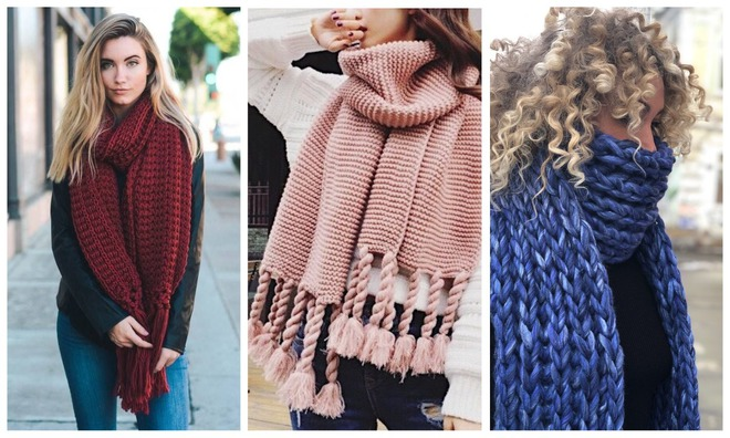 Объемные шарфы не выходят из моды.