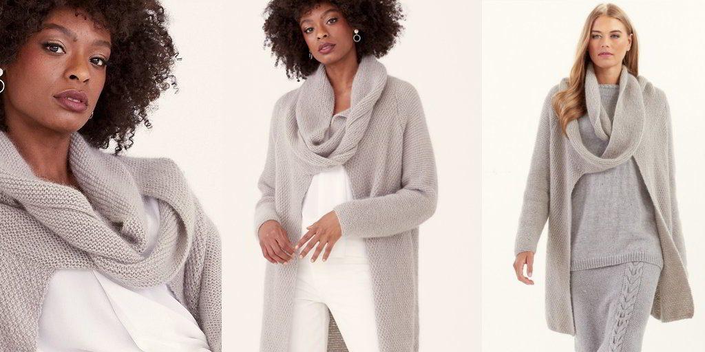 В некоторых моделях кардиганов шарф уже предусмотрен.