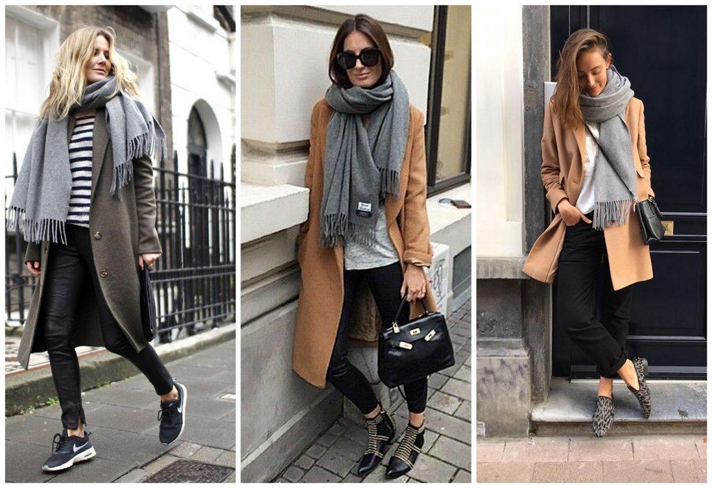 Любите комфорт? Тогда выбирайте пальто оверсайз, шарф, джинсы и обувь на низком ходу.