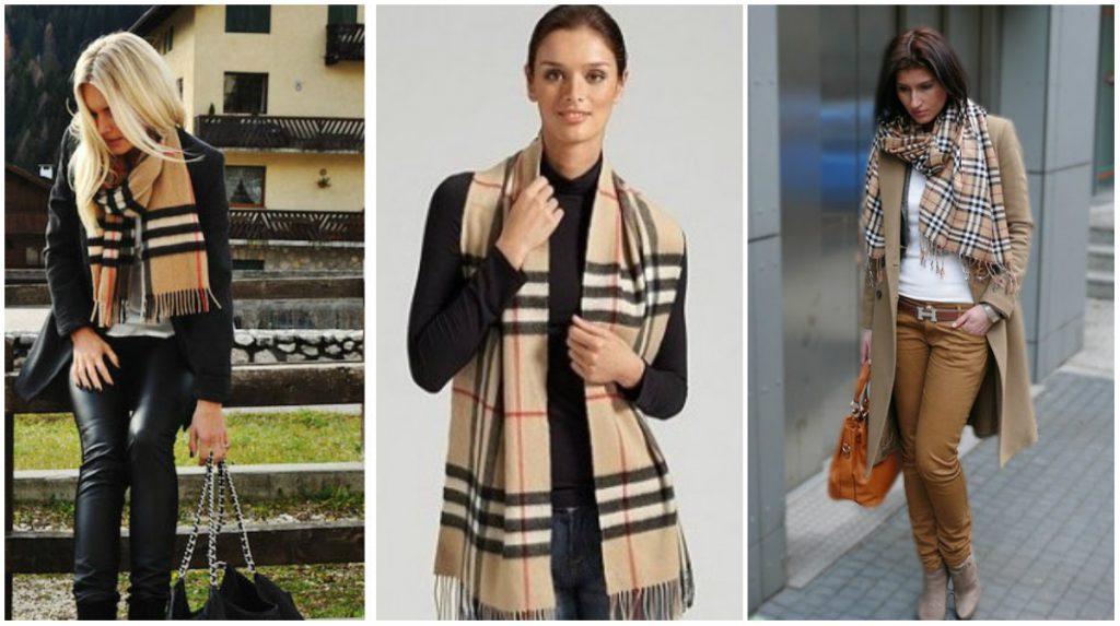 Бежевый клетчатый шарф гармоничен с любым оттенком.