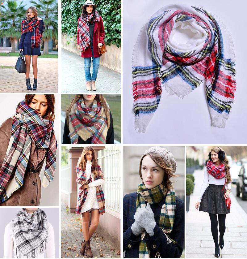 Клетчатым шарфом можно украсить большинство образов.