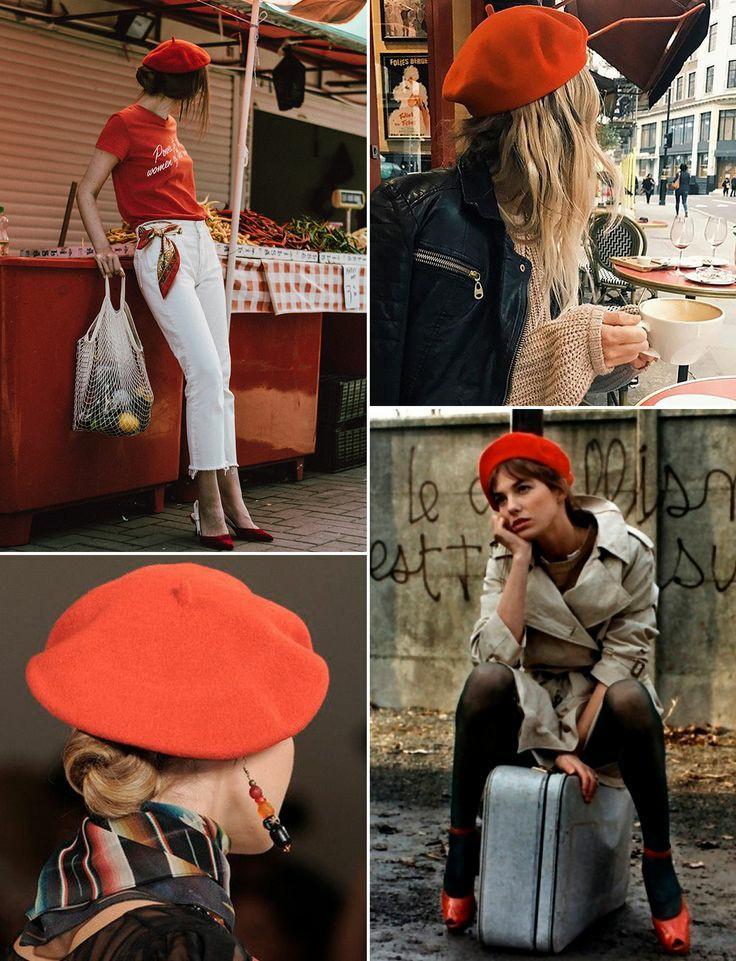 На девушках красные береты, сочетаемые с разными прическами: пучком, коротким хвостом, распущенными волнистыми волосами, короткой челкой.