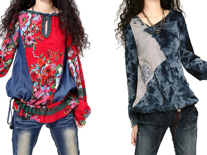 Блузы в бохо стиле - яркий микс натуральных материалов, броского декора, разнообразных фасонов