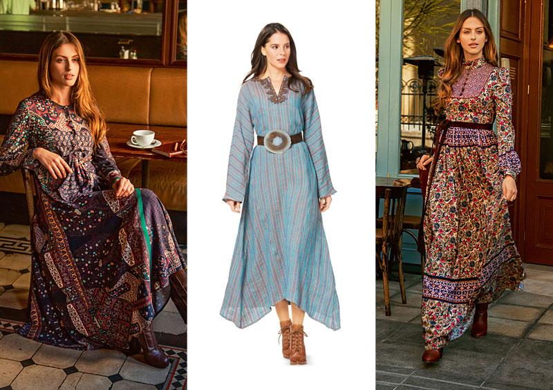 Платья в стиле бохо имеют свободный крой, просторные рукава, завышенную талию