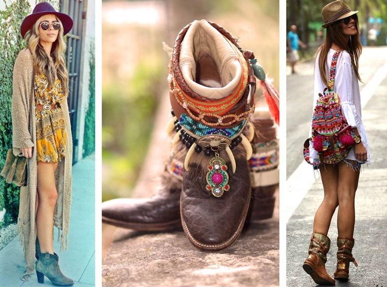 Обувь на устойчивом каблуке, низкой подошве преимущественно натуральных оттенков - прекрасное дополнение ансамблей в бохо стиле