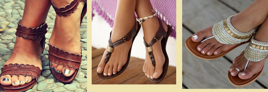 Летнее бохо предполагает присутствие в тандемах босоножек и сандалий на тонкой подошве
