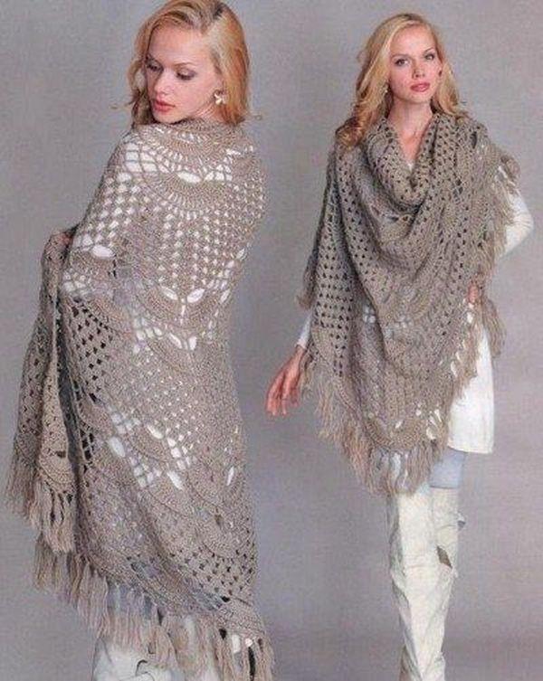 Женственное и элегантное дополнение к пальто любого цвета - ажурный шарф-шаль из козьего пуха