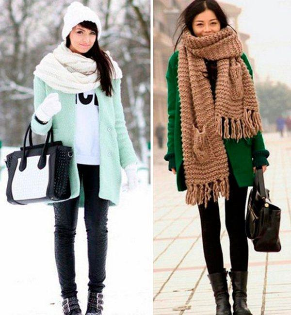 Объемные шарфы хорошо сочетаются с укороченными и однобортными пальто
