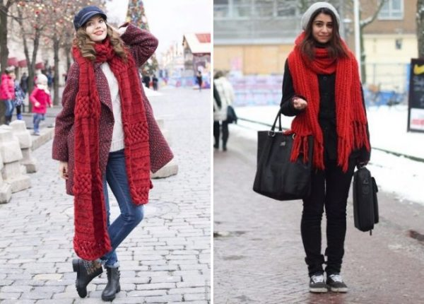 Объемный шарф с пальто хорошо носить, просто перекинув за шеи опустив концы вниз