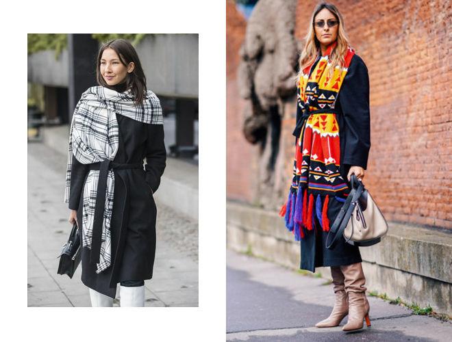 Модный лук - шарф-плед в виде пелерины зафиксирован на одном плече пальто
