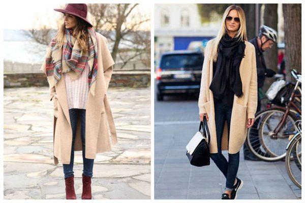 Хорошо смотрятся в паре с пальто оверсайз объемные шарфы и палатнины