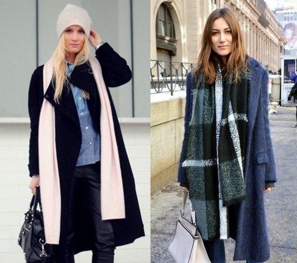 Самый простой способ ношения длинного шарфа с  пальто - перекинутым через шею и свободно опущенным вниз