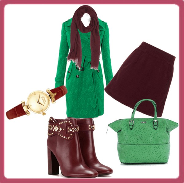 Классический вариант сочетания шарфа и пальто - благородный бордовый и яркий зеленый