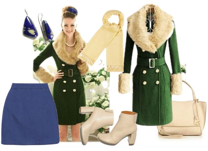 Зеленое пальто с воротником белого цвета и монохромный шарф - роскошный образ гламурной леди
