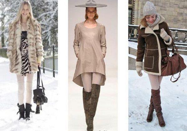 Супер плотные колготки – стильный фоновый аксессуар для создания луков с зимней одеждой и обувью