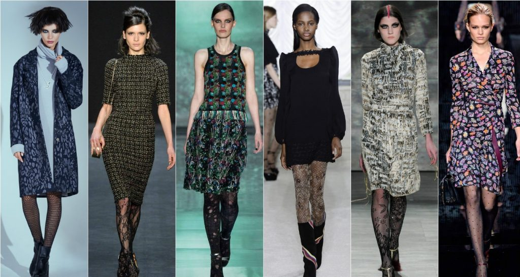 Колготки самых разных видов сочетаются с платьями всех моделей и расцветок