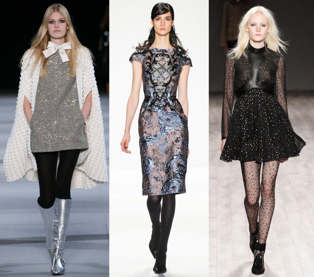Колготки в сочетании с платьями должны гармонировать с ними по текстуре и расцветке